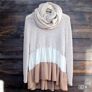 Fall lace tunic top